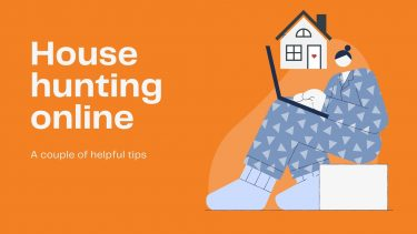 House hunting online - graphic of woman in PJs looking at computer