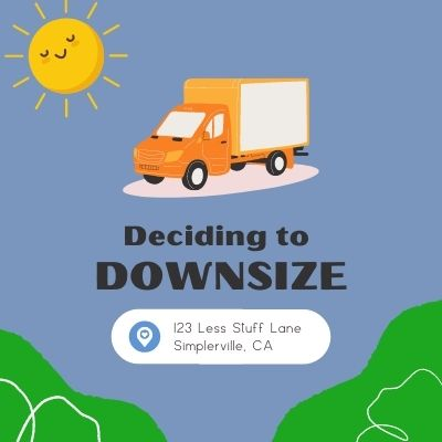Deciding to downsize - moving truck and sunshine graphic